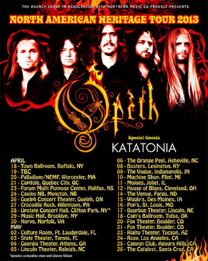 KATATONIA to support OPETH on 'North American Heritage Tour 2013'