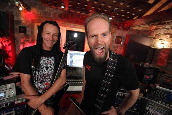 Left to right: HELL guitarist/keyboardist Kev Bower with guitarist/producer Andy Sneap