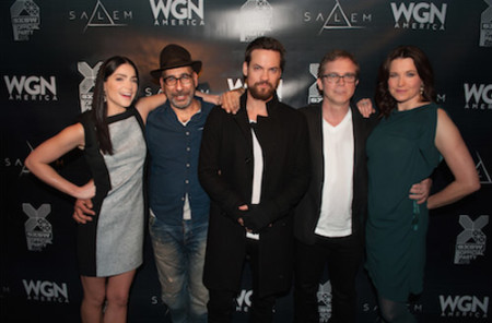 (L-R) Actress Janet Montgomery, creator and executive producer Adam Simon, actor Shane West, creator and executive producer Brannon Braga and actress Lucy Lawless attend WGN America's 'Salem' party at SXSW, which served as the official opening festivity of SXSW Film on Fri., March 13 at Speakeasy on the Avenue in Austin, TX.