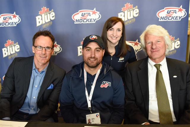 Pictured left to right: national sportscaster John Buccigross; Team USA Sled Hockey Captain Josh Sweeney, Labatt USA Brand Manager Lisa Texido and USA Hockey Senior