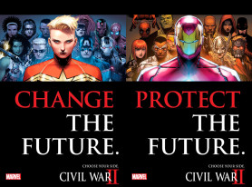 Protect The Future. Change The Future. Choose Your Side. Marvel's CIVIL WAR II