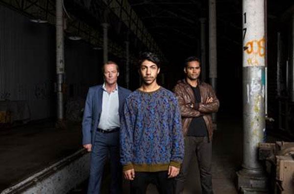 (L-R Iain Glen as Jerrod Slade, Hunter Page-Lochard as Koen West, Rob Collins as Waruu West.  Photo courtesy SundanceTV)