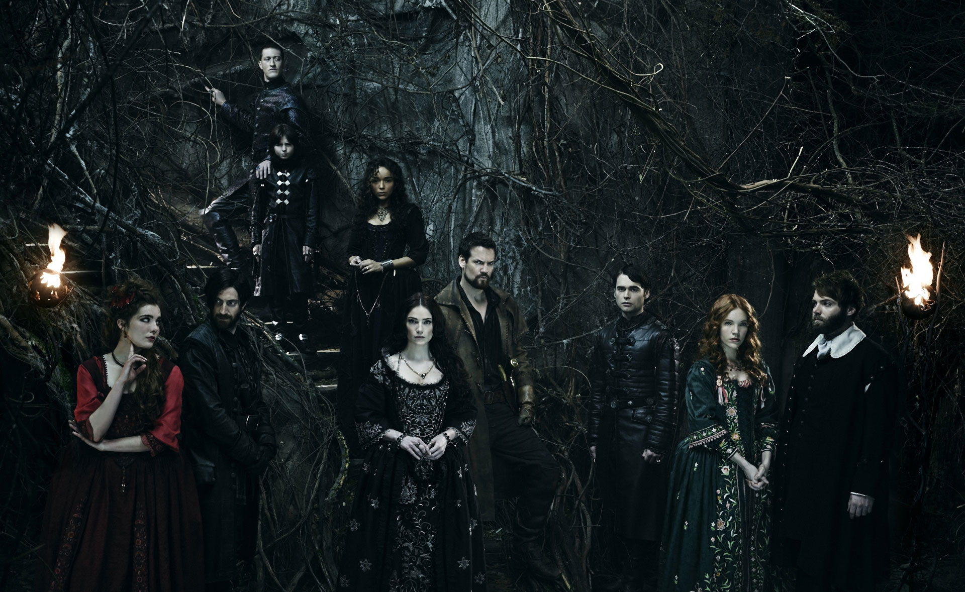 "L-R: Elise Eberle, Iddo Goldberg, Samuel Roukin, Oliver Bell, Ashley Madekwe, Janet Montgomery, Shane West,  Joe Doyle, Tamzin Merchant and Seth Gabel in WGN America's ""Salem"""